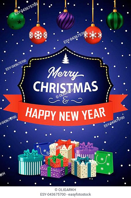 Poster Merry Christmas and Happy New Year. The inscription in a decorative frame with ribbon and gifts on a purple background. Vector illustration