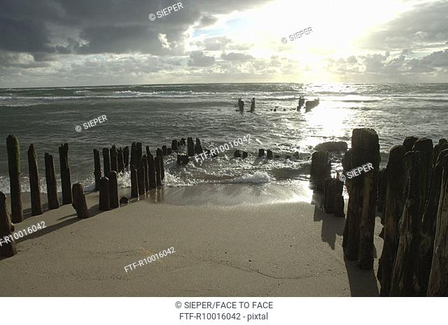 Erected wooden logs seen near the seashore, Sylt, Germany