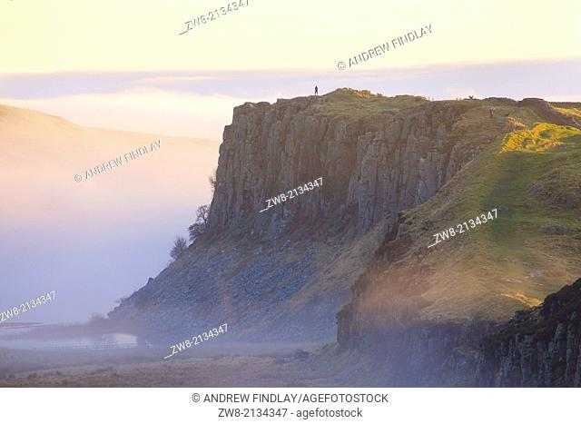 Highshield Crags in the Mist from Steel Rigg Hadrian's Wall. Northumberland England United Kingdom