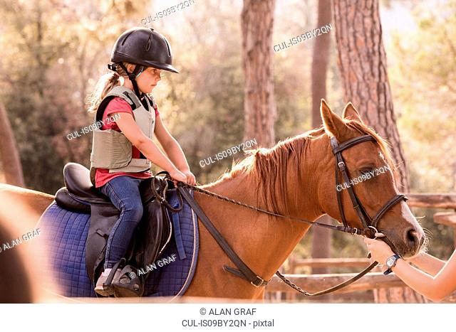 Girl learning to ride horse in paddock