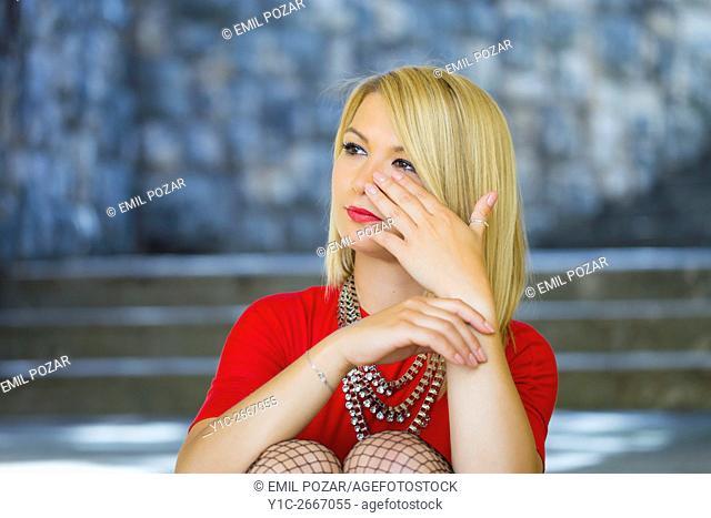 Crying mood young woman