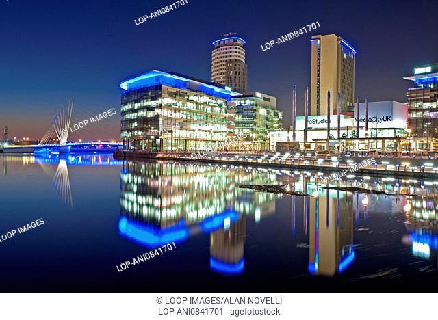 MediaCityUK by night at Salford Quays