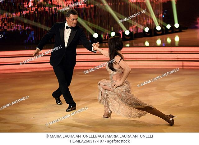 The former football player Claudio Gentile dancing with Roberta Beccarini during the tv show Ballando con le stelle, Rome, 25-03-2017