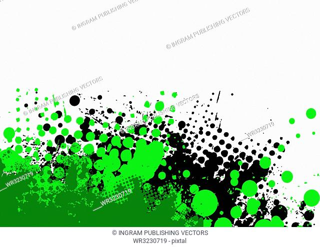 grunge halftone background in green and black with copy space