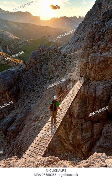 Walking the path of Kaiserjaeger you reach a secured walking section and a suspension bridge with steel cables 15 meters long (rebuilt in the same place as the...