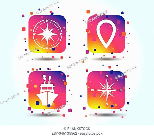 Windrose navigation compass icons. Shipping delivery sign. Location map pointer symbol. Colour gradient square buttons. Flat design concept. Vector