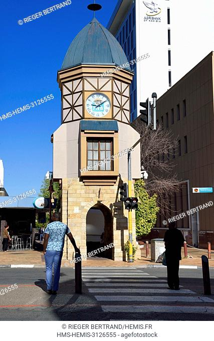 Namibia, Khomas region, Windhoek, Independence Avenue, replica of the original Deutsche Afrikabank clock tower from 1908 in German colonial era