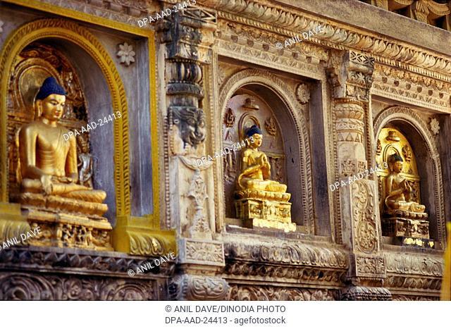 Buddha's Statues on Bodhi Temple , Bodhgaya , Bihar , India
