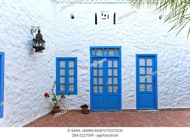 Patio of a house inside the Medina. Asilah, Morocco, North Africa