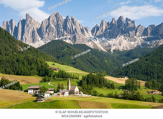 St. Magdalena, Villnoess, Trentino-Alto, South Tyrol, Italy, Europe - The Nature Park of the Villnoess Valley with Dolomite mountains of the Puez Geisler Group