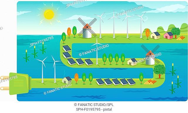 Wind farms on electrical plug, illustration