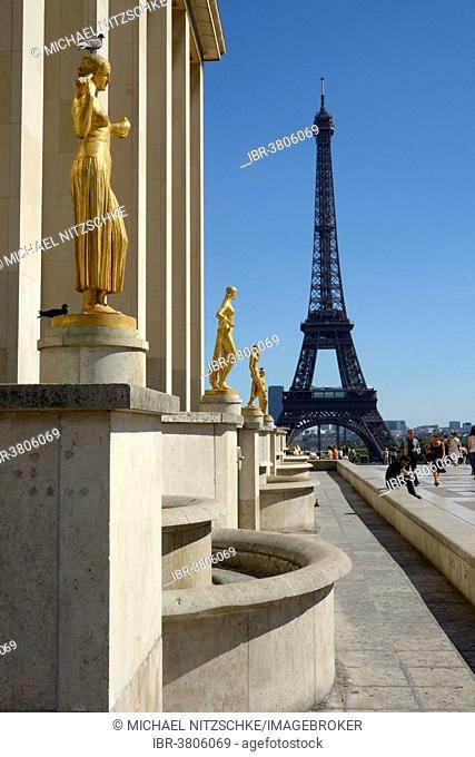 The Eiffel Tower from the Place du Trocadéro, Paris, Île-de-France, France