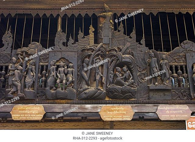 Carvings of Jataka and Ramayana tales, Youqson Kyaung Yoke-Sone Kyaung the oldest surviving wooden monastery in the Bagan area