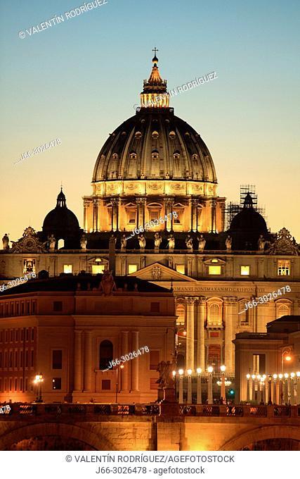Basílica Sant Pietro from the bridge Umberto I. Rome. Italy