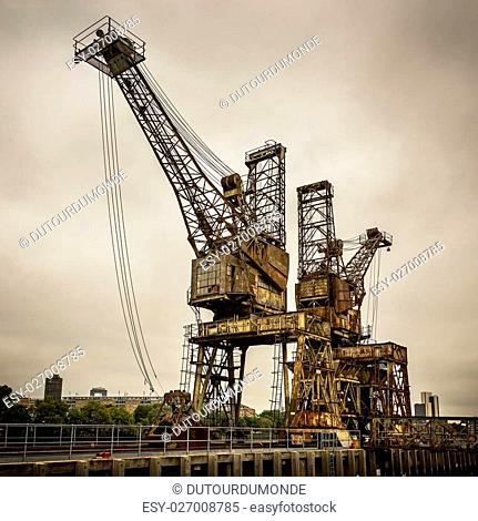 Rusty cranes at Battersea power station in London, UK