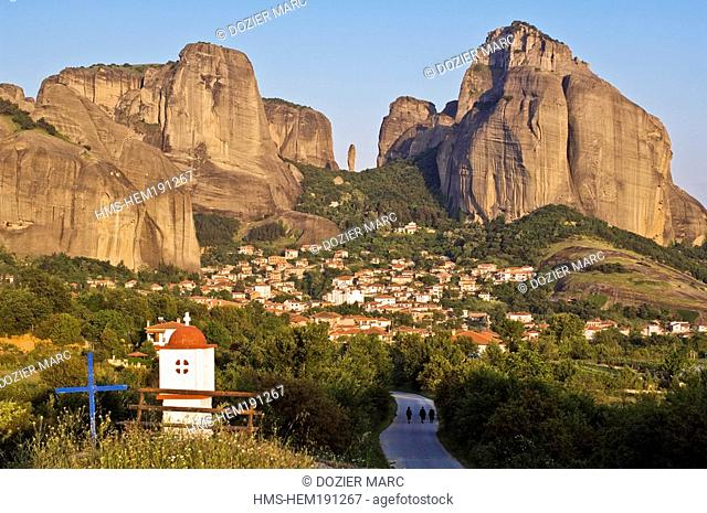 Greece, Thessaly, Meteora listed as World Heritage by UNESCO, Kastraki village and Meteora, natural sandstone rock pillars