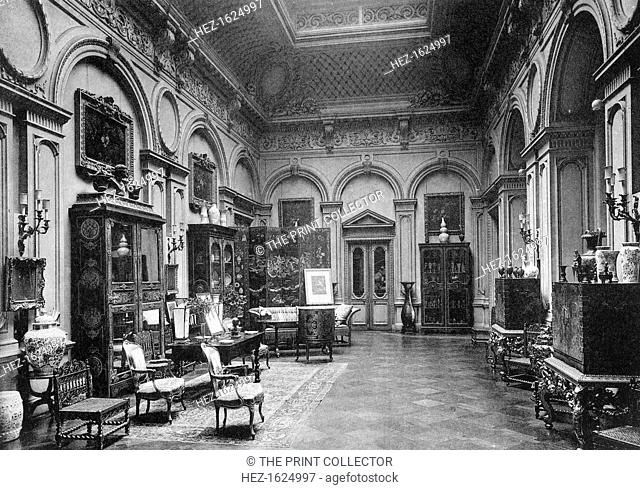 The saloon, Montagu House, 1908. A photograph from The Private Palaces of London by E Beresford Chancellor, (Kegan Paul, Trench, Trubner and Co, London, 1908)