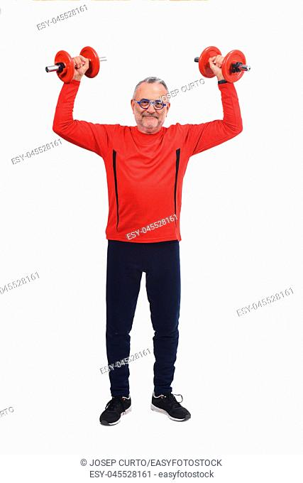 man with dumbbells on white background