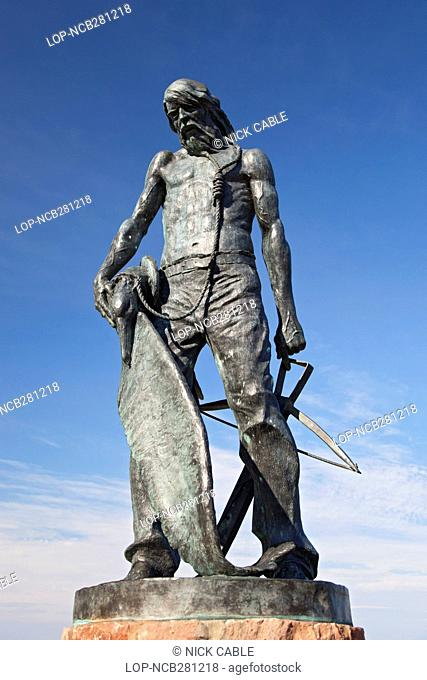 England, Somerset, Watchet. Statue of the Ancient Mariner in Watchet harbour, created as a tribute to Samuel Taylor Coleridge