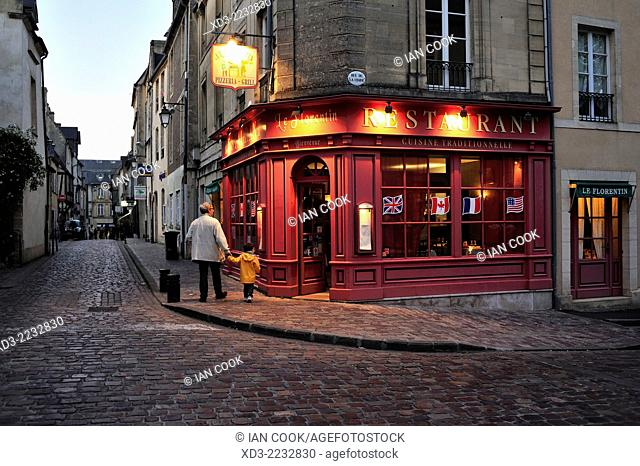 Quiet street in the evening, Bayeux, Calvados Department, Normandy, France