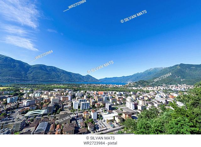 Panoramic view over an alpine town