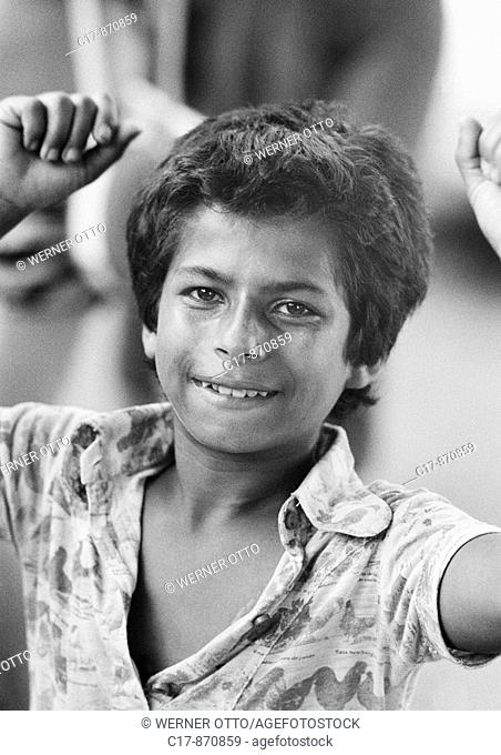 Seventies, black and white photo, people, children, boy, dancing, carnival, portrait, aged 11 to 14 years, Brazil, Minas Gerais, Belo Horizonte