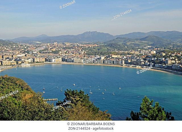 La Concha bay, Bucht, San Sebastian, Pais Vasco, Basque Country, Baskenland, Spanien, spain