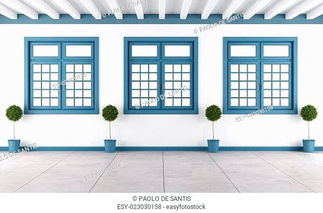 White and blue empty room