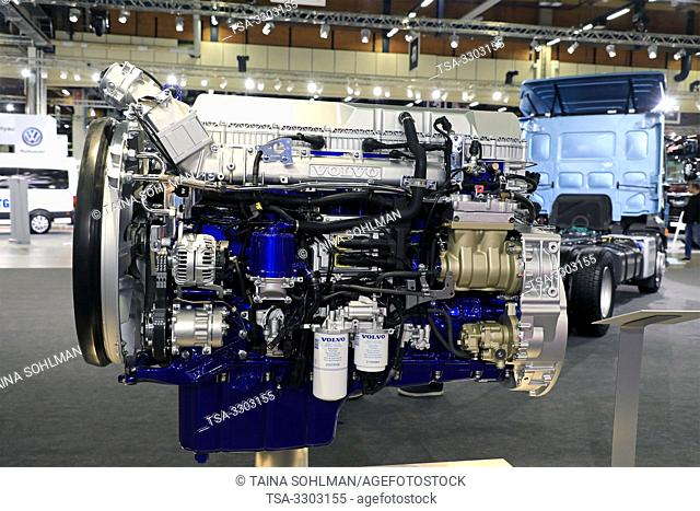 Helsinki, Finland. 09 May, 2019. Volvo D13TC I-Save Engine displayed on Volvo Trucks Stand on Transport-Logistics 2019. According to Volvo Trucks
