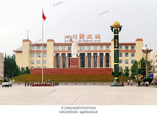 Chengdu, Sichuan province, China - The view of Sichuan Science and Technology Museum in the daytime with Statue of Mao Tze Tung in the front