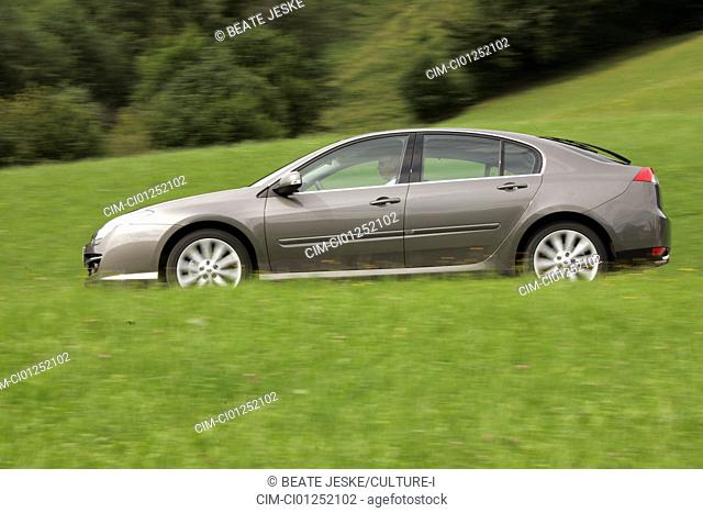Renault Laguna, model year 2007-, anthracite, driving, side view, country road