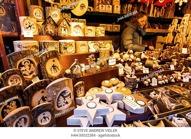England, London, Leicester Square, Christmas Market, Stall Display of Wooden Christmas Decorations