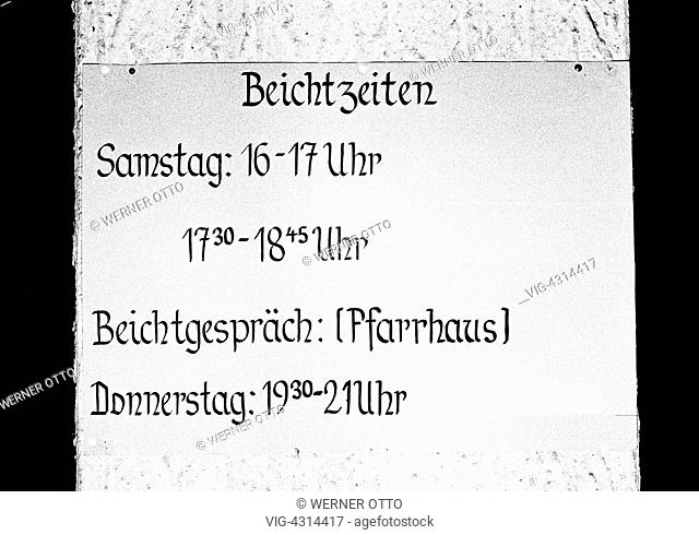 DEUTSCHLAND, BOTTROP, 31.08.1973, Seventies, black and white photo, religion, Christianity, confession, indicating label at a vicarage showing the tenses of the...