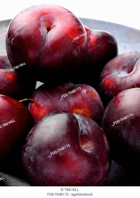 Ripe plums close up
