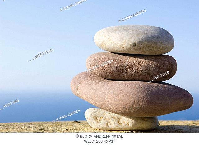 Balancing rocks above the the sea