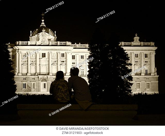 Royal Palace from Sabatini Gardens, Madrid, Spain
