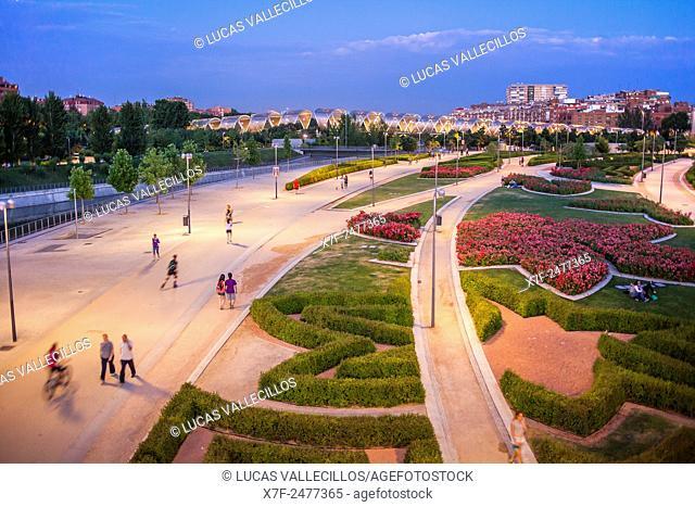 Madrid Rio Park, in Manzanares river. Madrid, Spain