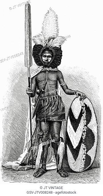 Massai Warrior in Full Regalia, Africa, Illustration, 1885