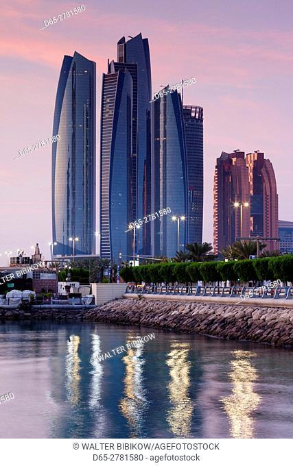 UAE, Abu Dhabi, Etihad Towers, dawn