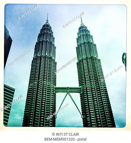 Old photograph of skybridge between skyscrapers in Kuala Lumpur, Malaysia