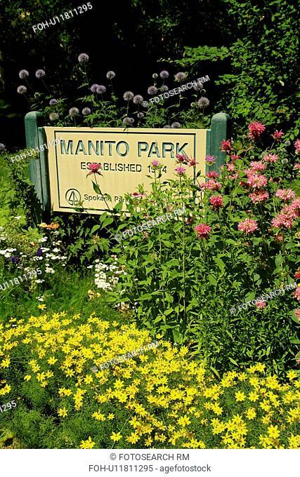 Spokane, WA, Washington, Manito Park, Conservatory, entrance sign