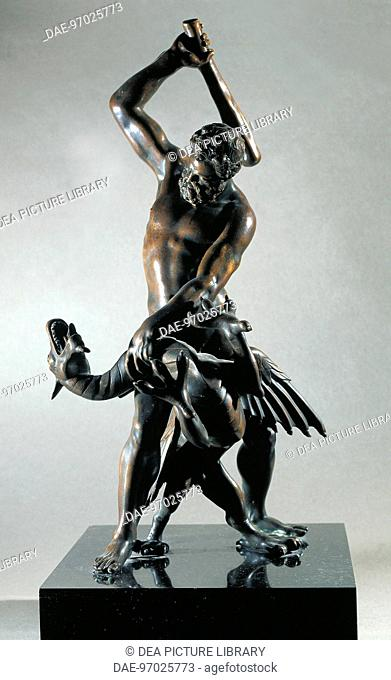 Hercules and the Hydra, by Giambologna (1529-1608), bronze.  Florence, Museo Nazionale Del Bargello (Bargello National Museum)