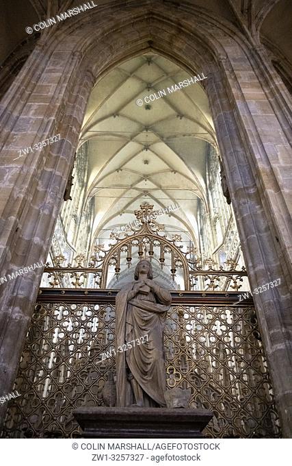 Sculpture with vaulted ceiling, St Vitus Cathedral, Prague Castle, Prague, Czech Republic