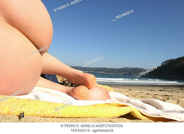 Nudist beach. Galicia, Spain