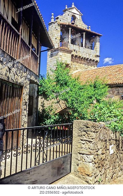 Tower of the church. San Martin del Castañar, Salamanca, Spain