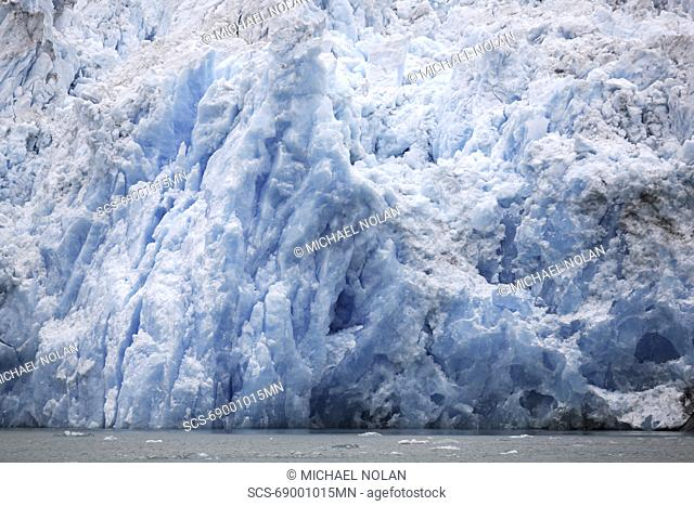 The face of the Le Conte Glacier in Le Conte Bay, just outside Petersburg in Southeast Alaska, USA Le Conte glacier is the southernmost tidewater glacier in the...