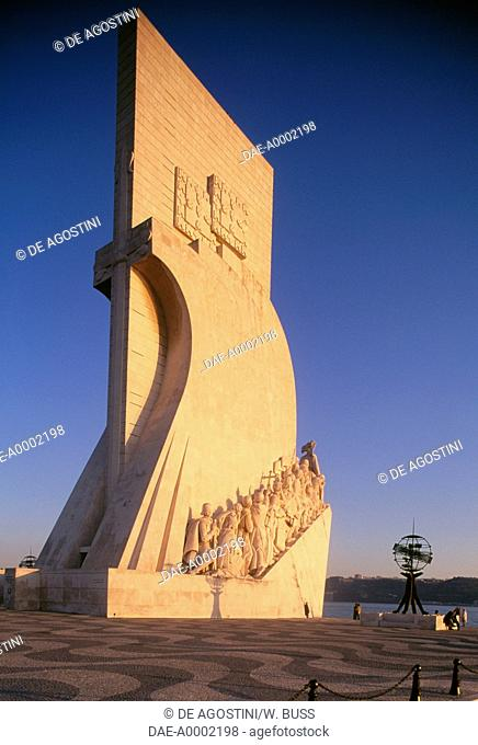 Monument to the Discoveries (Padrao dos Descobrimentos) at sunset, 1960, by Leopoldo Neves de Almeida (1898-1975), on the bank of the Tagus river