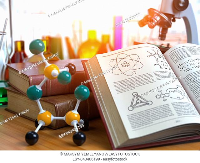 Chemistry . Laboratory equipment microscope with flasks, vials and model of molecule and book of chemistry. 3d illustration
