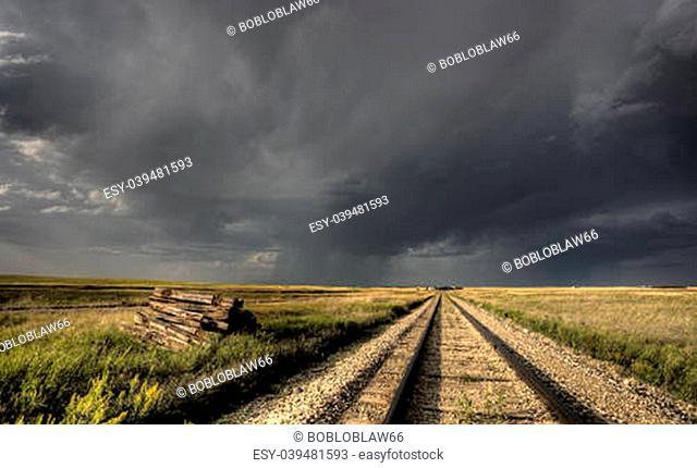 Storm Clouds Saskatchewan railway railroad tracks Canada