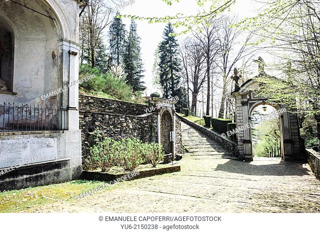Road that leads to the Sacro Monte, Orta, Lake Orta, Piedmont, Italy